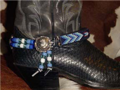 Hand Beaded Boot Bracelet Arrows with Wind Blue