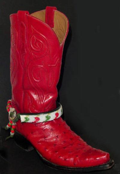 Hand Beaded Boot Bracelet Chili Peppers White