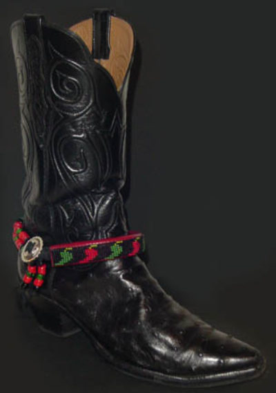 Hand Beaded Boot Bracelet Chili Peppers Red