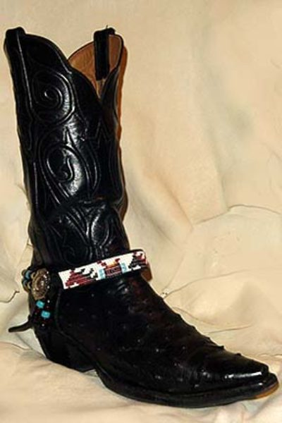 Hand Beaded Boot Bracelet Horses and Saddles White