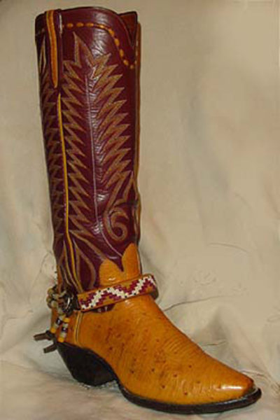 Hand Beaded Boot Bracelet Navajo Design Red and Bone