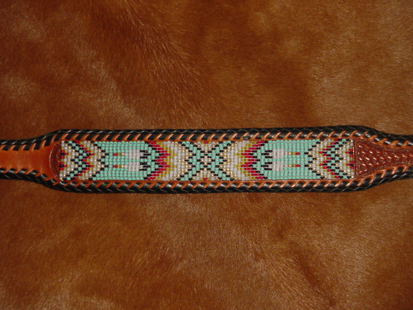 c1a01176d Hand Beaded Belt Sioux Design Feathers - Southpaw Beadworks