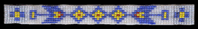 Hand Beaded Boot Bracelet Sioux Design Blue and Yellow