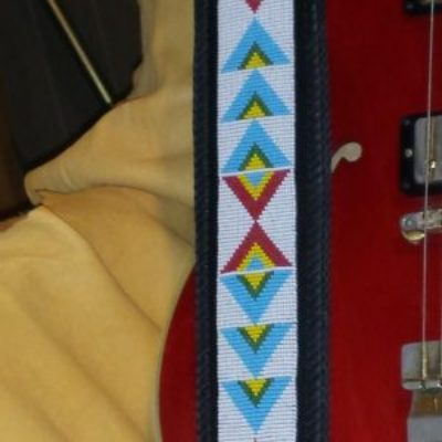 Hand Beaded Guitar Strap Plains Design